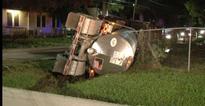 Hazmat crews respond to big rig tanker crash in Houston...Hazmat crews respond to big rig tanker crash in Houston...