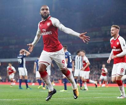 Arsenal's record signing Lacazette strikes twice to see off West Brom