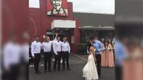 KFC wedding couple get fried chicken fix free for a year following viral photo