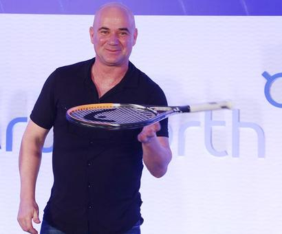 PHOTOS: Tennis legend Agassi makes Mumbai stop over!