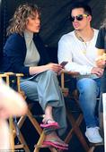 Jennifer Lopez, 46, spends time with toyboy Casper Smart between takes as she films her cop show in New York