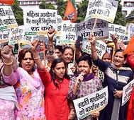 Delhi BJP Mahila Morcha Holds Demonstration Demanding Swati Maliwal's Resigntion