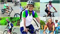Five avid cyclists, who cycle to work everyday