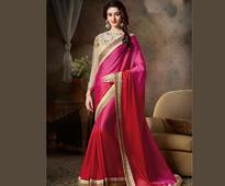Ombre Faux Crepe Jacquard Saree in Rani Pink and Red
