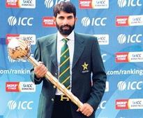 Pakistan's skipper of Test cricket team Misbah-ul-Haq holds test mace