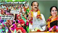 Sanitation workers protest against east Delhi's new Mayor Neema Bhagat