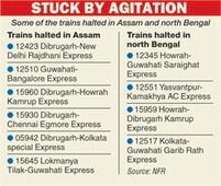 Assam blockade hits rail traffic for 10 hours
