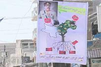 Banners pleading army chief Raheel Sharif to stay displayed in Jacobabad