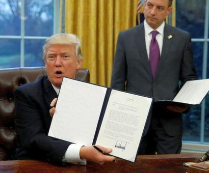 Trump pulls out of trade deal TPP with executive order