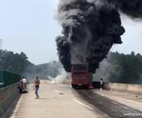 At least 35 killed in central China bus fire