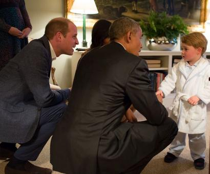 Obamas join Wills, Kate for dinner... and Prince George didn't want to miss out