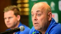 Michael Cheika touches base with Darren Lehmann as codes collide for first time in South Africa