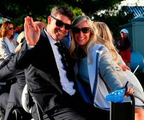 Rory McIlroy and Erica Stoll lead loved-up golfers and their other halves as Ryder Cup kicks off
