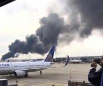 Miami bound American flight catches fire at Chicago's O'Hare airport before takeoff, all passengers evacuated