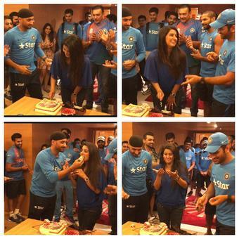 PHOTOS: Harbhajan's wife Geeta Basra celebrates birthday with Indian team