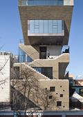 bang by min carves angular external stairway from concrete mixed-use building in seoul