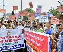 Ayush paramedical staff stage protest for wages