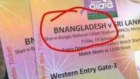 Bnangladesh!!! BCB 'sorry' after spelling Bangladesh wrong on BAN v/s SL match tickets