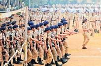 Mumbai Police at a practice parade at the Naigaon Police ground