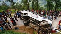 13 injured as bus overturns