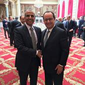 Sunil Bharti Mittal, Founder & Chairman, Bharti Enterprises with French President Francois Hollande at Viva Summit in Paris