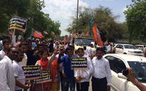 Delhi BJP stages protest against Kejriwal government over water, power crisis