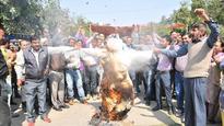 Non-teaching Jalandhar employees stage protest, burn Punjab govt effigy