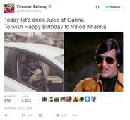 You just cannot miss Virender Sehwag's birthday wish to Vinod Khanna