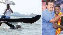 Arjun swims 20 km for a cause