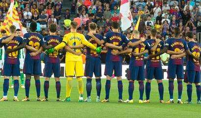 Watch FC Barcelona pay tribute to victims of terror attacks
