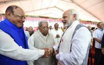 See pic: Modi, Vaghela, Keshubhai's sweet Gujarati reunion at Rupani swearing-in