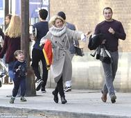 Claire Danes enjoys a family stroll with husband Hugh and son Cyrus in NY