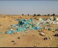 Plastic waste burnt close to DNP, in camel caravan path
