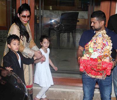 PIX: Manyata Dutt, kids, say goodbye to Ganpati