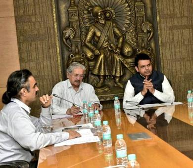 Fadnavis, Sena leader hold meet to 'speed up' construction of Thackeray memorial