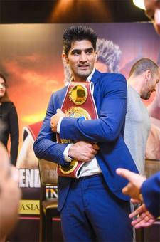 Will Vijender defend his WBO middleweight title on Saturday?