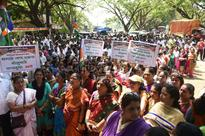 MNS workers protest against cutting of trees in Aarey for Metro- III car depot