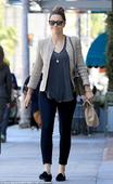 Jessica Biel epitomizes style in skinny leggings and tailored jacket as the mom-of-one runs errands in LA