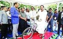 Sanitation & smart city exhibition opened by Naidu & Chouhan