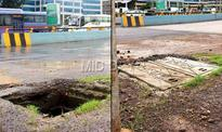 Day after mid-day report, PWD covers three of four manholes on Mrinal Gore flyover