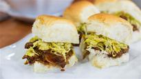 Slow Cooker Pulled Pork Sliders with Brussels Sprouts Slaw