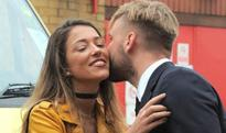 Spotted: Luke Shaw greets team-mate's fiancee with a kiss after arriving at Old Trafford