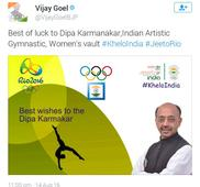 Rio 2016: Vijay Goel goofs up again on Twitter, mistakes Dutee Chand for Srabani Nanda