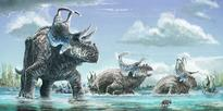 Dino duo sported exotic spikes and horns