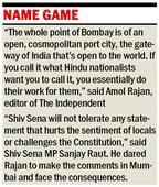 UK paper to switch back to Bombay, Sena... UK paper to switch back to Bombay, Sena throws a dare