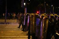 40 arrested in Paris over Euro 2016 violence French riot police take position near the Arc de Triomphe on the Champs Elys...