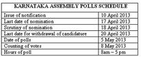 Karnataka Assembly polls on 5 May, counting on 8 May