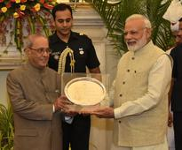 Check out pics of PM Modi's farewell dinner for outgoing President Pranab Mukherjee