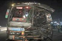 One dead, 14 injured in road mishap