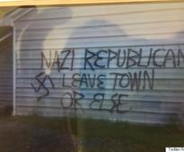 Republican Office Firebombed, Painted With Swastika